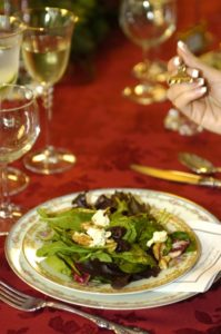 plated salad by personal chef for dinner party